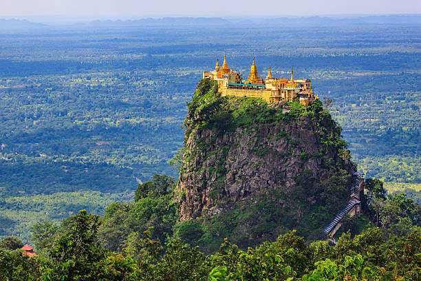 Mount Popa Mount Popa home of Nat the Burmese mythology ghost this place is the old volcano in Bagan, Myanmar myanmar stock pictures, royalty-free photos & images