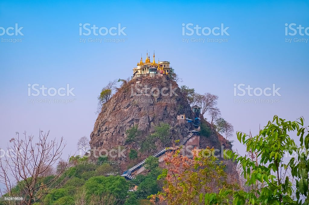 Mount Popa Temple on top of cliff in Myanmar stock photo