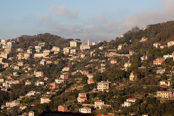 Mount Portofino Park - Ruta village at the dusk stock photo