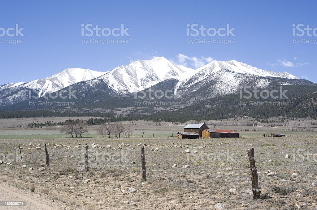 Mount Princeton and Ranch in Spring royalty-free stock photo