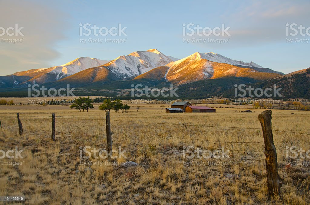 Mount Princeton Morning Light stock photo