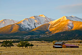 A snow capped Mount Princeton in the Collegiate Peak Range of the Rocky Mountains, overlooks an old ranch at morning's first light.  Late Fall has brought a dusting of snow to this 14,196 foot peak near Buena Vista, Colorado, but the Arkansas River Valley at its base still has barren ranchland and a few turning cottonwood trees.