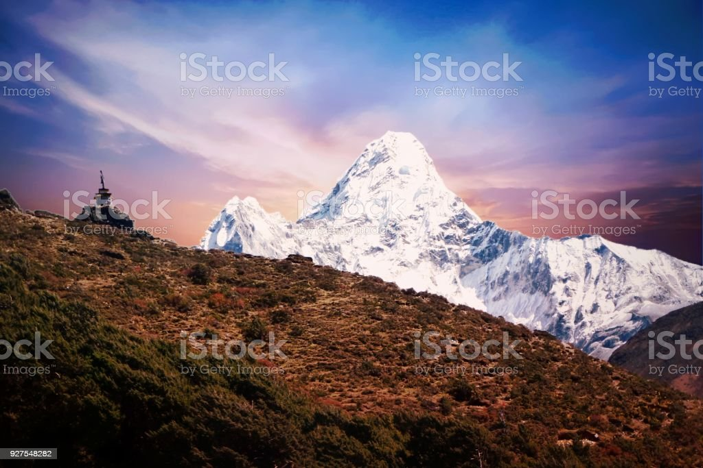 Mount pumori and a stupa in Dingboche, Everest Base Camp trek, Nepal stock photo