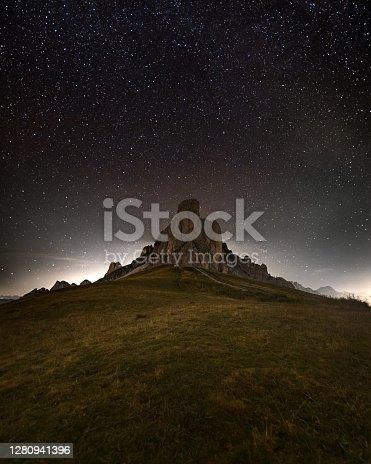 istock Mount Ra Gusela in Passo Giau in Cortina D'ampezzo, famous ski resort in the Dolomites 1280941396