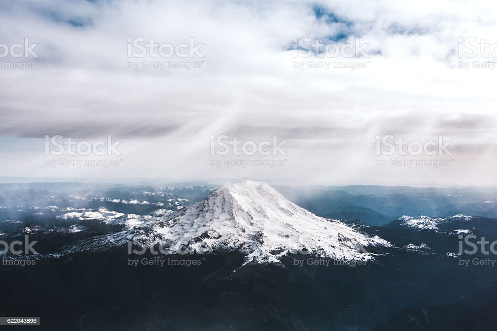 Mount Rainer From the Air stock photo