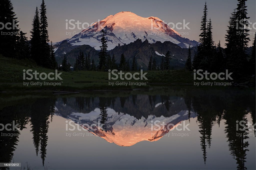 Mount Rainier Alpenglow Reflection royalty-free stock photo