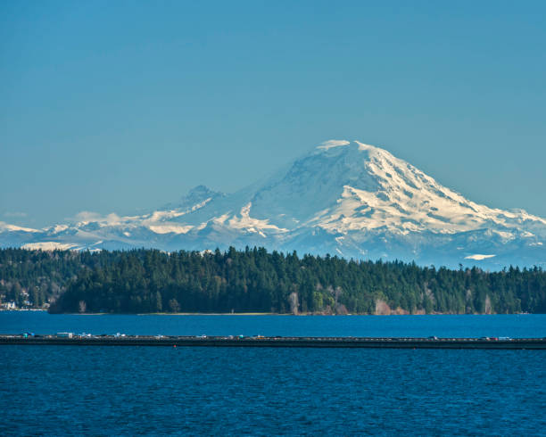 Mount Rainier and Interstate 90 Floating Bridge on Sunny Day Snow Covered Mount Rainier Stand Proudly above the Waters of Lake Washington, the Interstate 90 Floating Bridge, and Mercer Island on a Sunny Afternoon mt rainier stock pictures, royalty-free photos & images