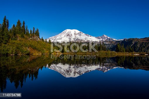 Reflection of Mount Rainier in Bench Lake, Washington, USA