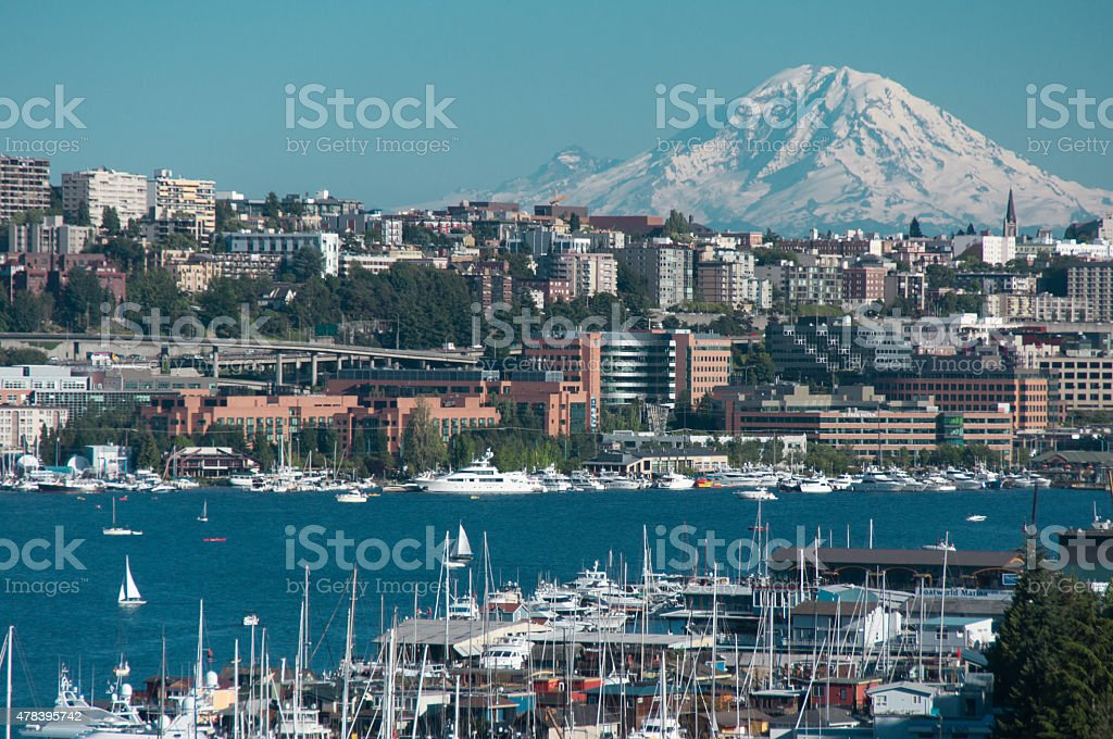 Mount Rainier and Lake Union stock photo