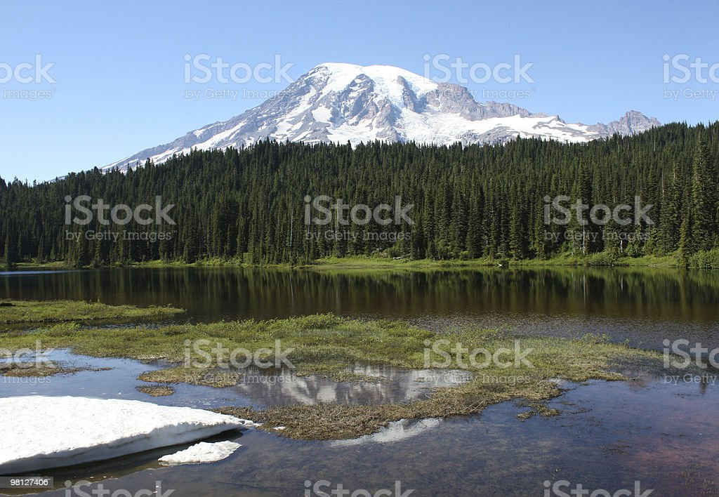 Mount Rainier and Reflection Lake royalty-free stock photo