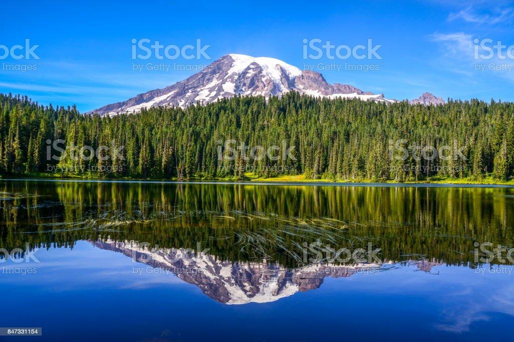 Mount Rainier and Reflection Lake, Washington-USA - Zbiór zdjęć royalty-free (Ameryka)
