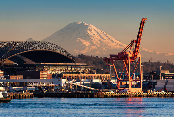 Mount Rainier and the Seattle waterfront