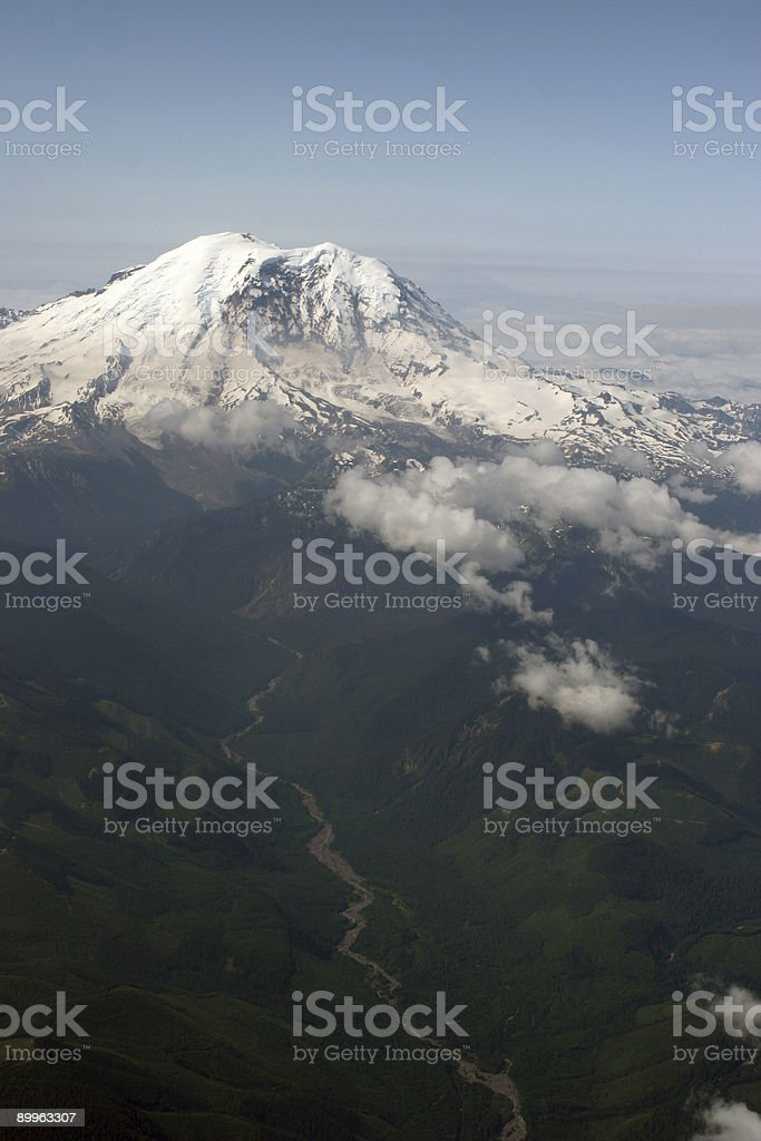 Mount Rainier Arial View royalty-free stock photo