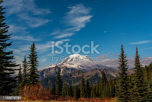 Mount Rainier Below Blue Sky with Pine Trees and Smaller Mountains Below