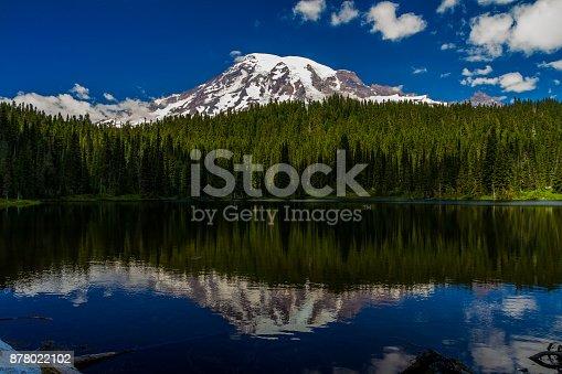 Beautiful Volcanic Mount Rainier, Washington, as seen from Reflection Lakes.