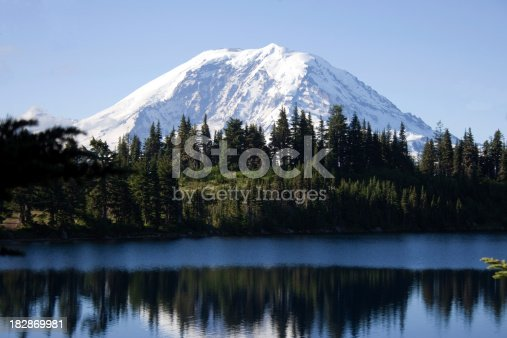 View of Mount Rainier from Summit Lake in the Cascade Range of Washington State.  Look at more