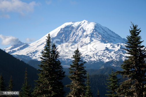 View of Mount Rainier from Summit Peak in the Cascade Range.  Look at more