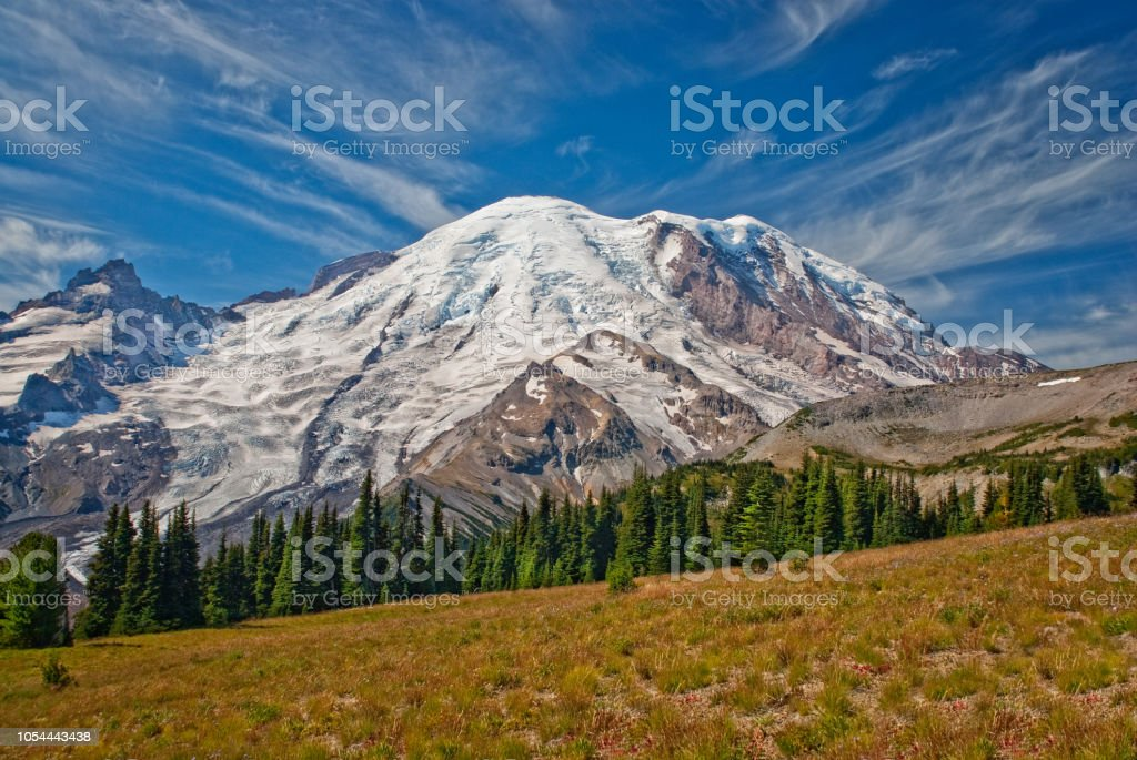 Mount Rainier from Sunrise Park stock photo