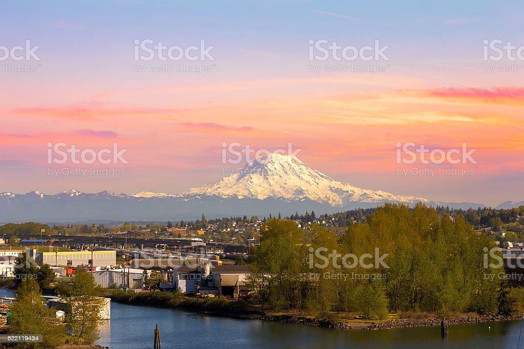 Mount Rainier from Tacoma Marina stock photo