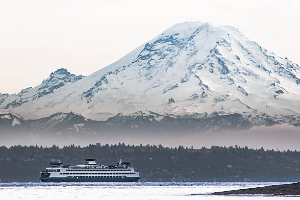Mount Rainier Looms over Ferry on Puget Sound - Photo
