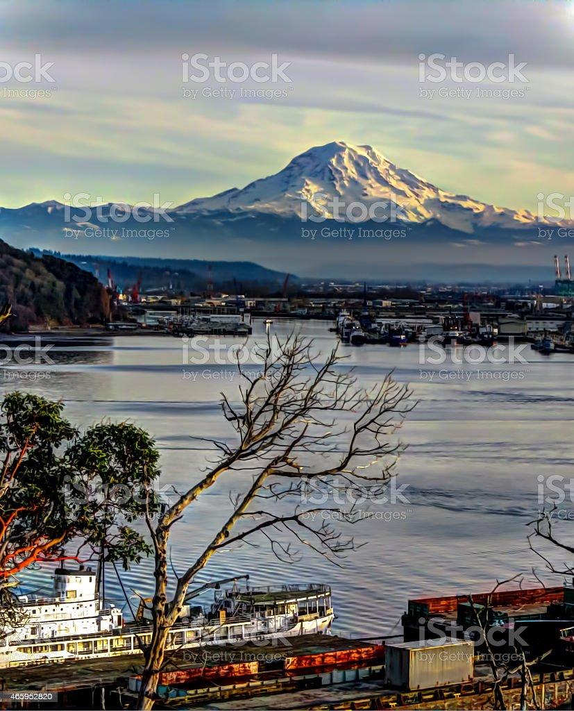 Mount Rainier Overlooks The Port Of Tacoma HDR stock photo