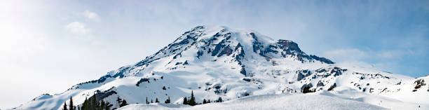 Mount Rainier Panoramic View Mount Rainier Panoramic View - Snowy Mountain Washington State Cascade Range pierce county washington state stock pictures, royalty-free photos & images