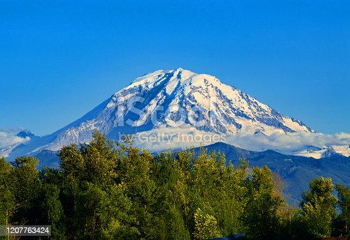Mount Rainier in Washington State on a summer day.