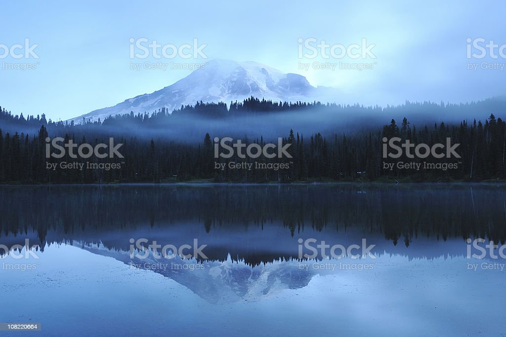 Mount Rainier Reflection on Lake at Dawn stock photo