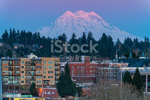 Sundown over Olympia Washington with Mt. Rainier in background