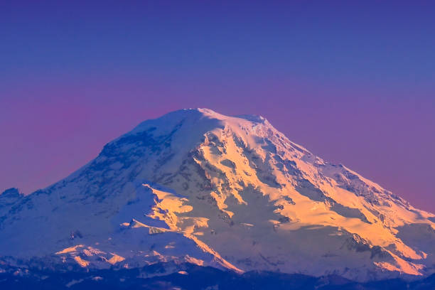 Mount Rainier Sunset Taken from Vashon Island, WA mt rainier stock pictures, royalty-free photos & images