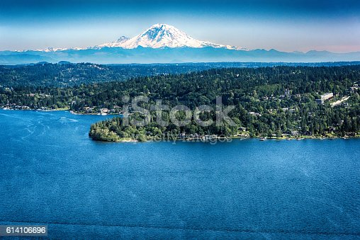 The glacier of Mount Ranier in the Cascade Mountain Range shot from over Lake Washington just east of Seattle.