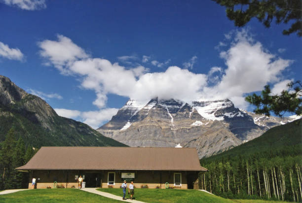 Mount Robson and information center in British Columbia stock photo