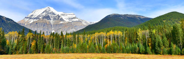 Mount Robson in the Canadian Rockies, in British Columbia stock photo