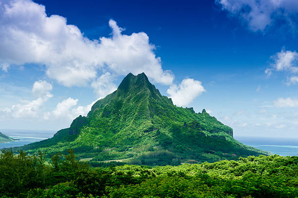 Mount Roto Nui Volcanic Mountain Moorea Island  volcanic landscape stock pictures, royalty-free photos & images