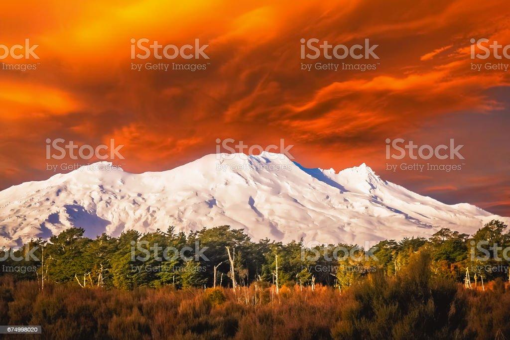Mount Ruapehu volcano stock photo
