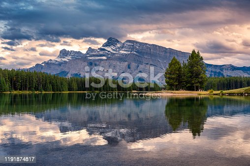 istock Mount Rundle reflection in Two Jack lake in evening at Banff national park 1191874817