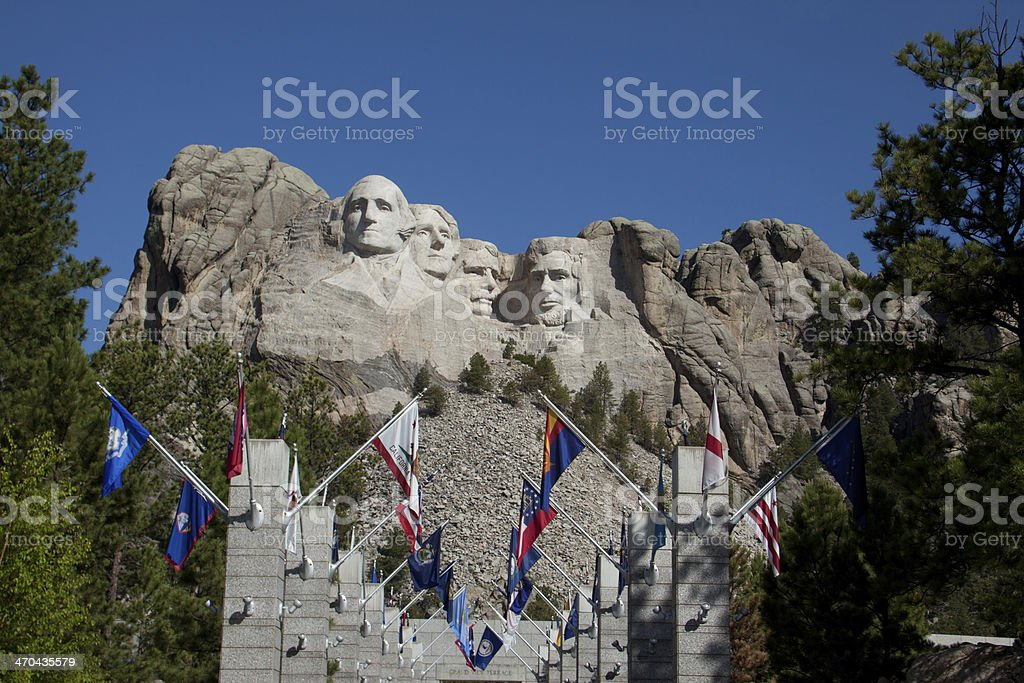 Mount Rushmore Avenue of Flags royalty-free stock photo