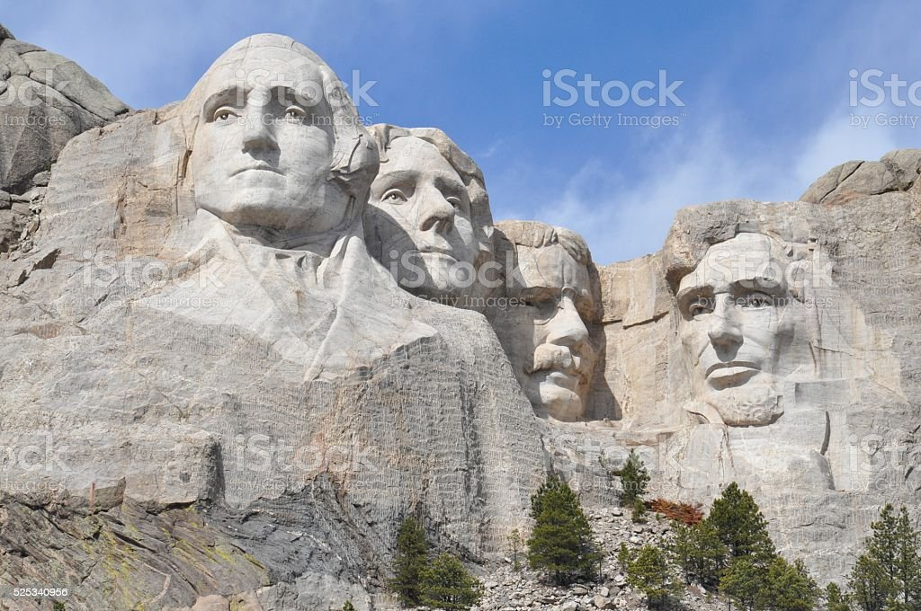 Mount Rushmore Close Up In Springtime stock photo