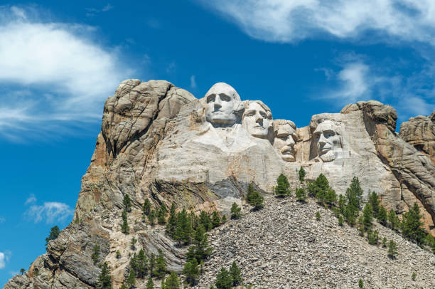 Mount Rushmore Close Up Close up landscape of the Mount Rushmore National Monument in the Black Hills region, South Dakota, USA. mount rushmore stock pictures, royalty-free photos & images