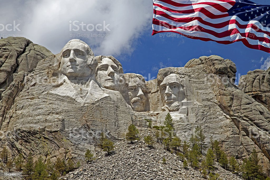 Mount Rushmore Closeup with American Flag stock photo