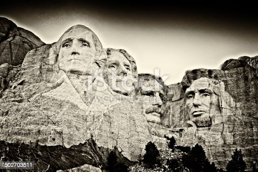 A fine art rendition of Mount Rushmore in sepia tones.