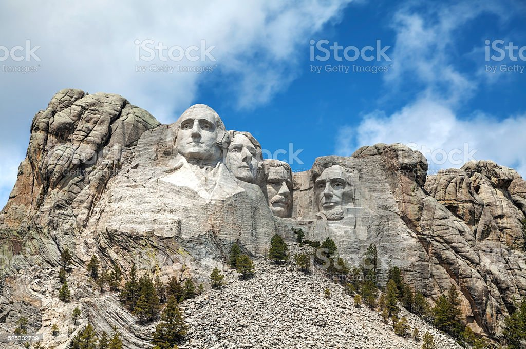 Mount Rushmore monument in South Dakota stock photo