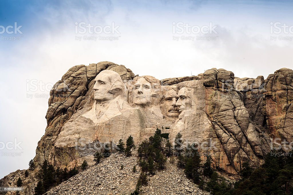 Mount Rushmore National Memorial Park in South Dakota, USA. Scul stock photo