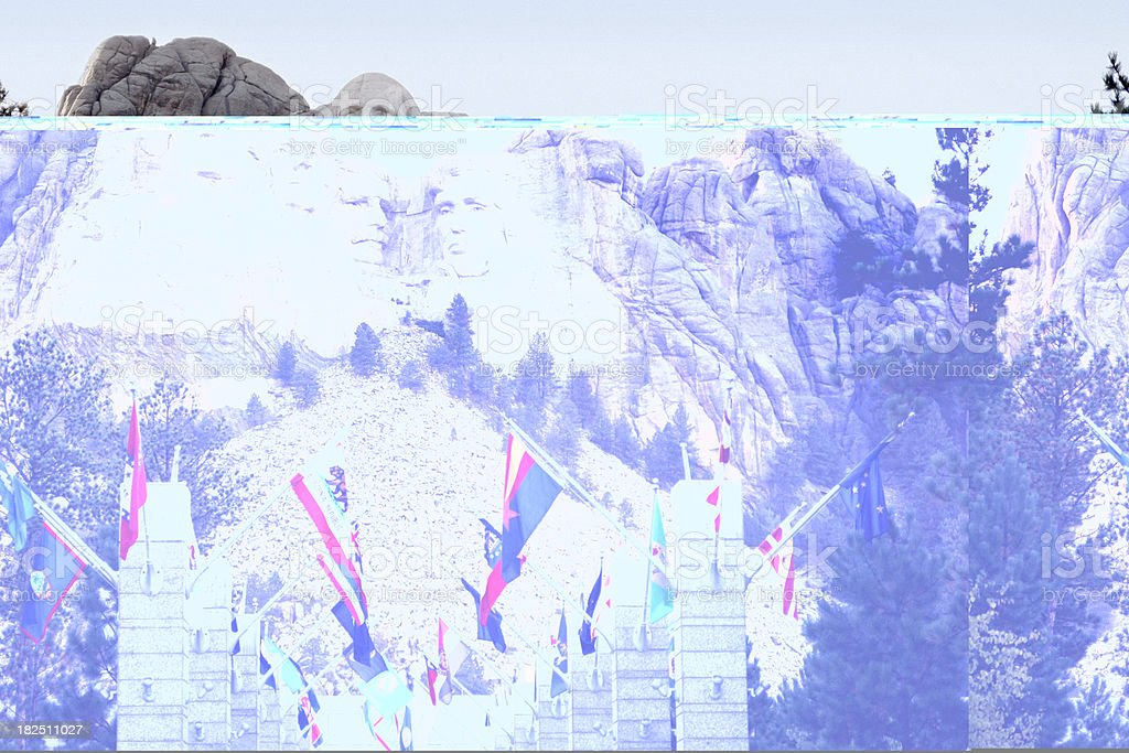 Mount Rushmore National Memorial with State Flags stock photo