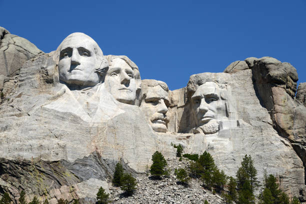 Mount Rushmore National Monument world famous rock presidents' sculptures in Mount Rushmore National Park mount rushmore stock pictures, royalty-free photos & images