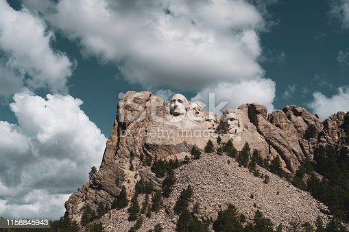 The world famous Mount Rushmore National Monument outside of Rapid City, South Dakota. Processed with a retro-look, that harkens back to the 1920's to 1940's when the monument was created.