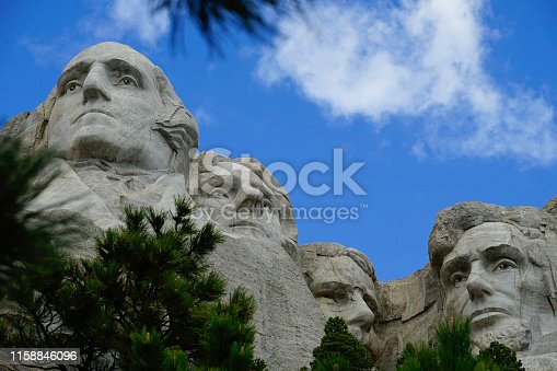 Low angle view of the world famous Mount Rushmore National Monument outside of Rapid City, South Dakota.