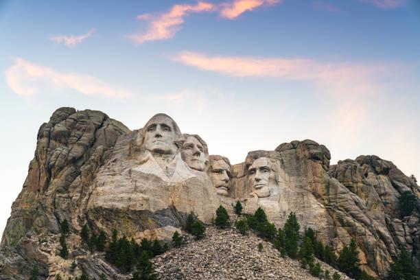 mount Rushmore natonal memorial  at sunset. stock photo