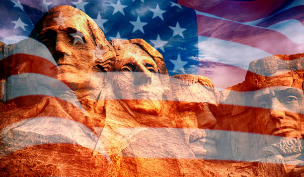 Mount Rushmore Mount Rushmore - sculpture with faces of four American Presidents on the United States flag mount rushmore stock pictures, royalty-free photos & images