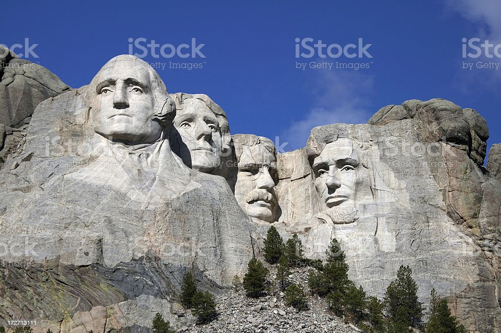 Mount Rushmore Close up view of Mount Rushmore under a blue sky 2000-2009 Stock Photo
